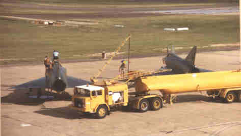 refueling 75Sqn Mirages in Townsville